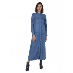 Splash Front Pockets Concealed Placket Long Sleeves Shirt Neck Cotton Maxi Dress for Women - Blue