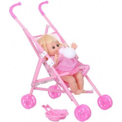 Fisher Baby Doll for Kids with Stroller, Pink